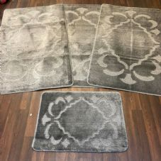 ROMANY GYPSY WASHABLES FULL SET OF MATS/RUGS 75X125CM SIZE NON SLIP ANTH/GREY